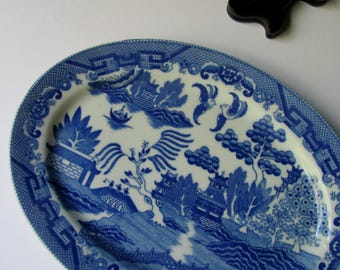 Vintage Blue Willow Platter Blue Willow China Plate Oval Tray Serving  Platter Blue White China Dish