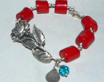 Chuncky Red Genuine Coral Bracelet