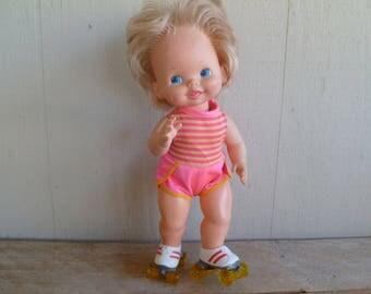 Adorable Vintage Mattel Baby Skates Doll 1980