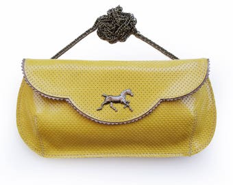 Yellow Leather clutch with a horse, Bright yellow evening purse, women's wallet, clutch for bride