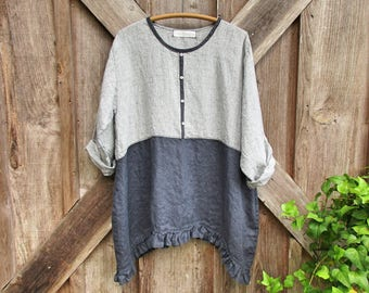 RESERVED FOR VA linen top tunic in charcoal grey gray and grey gray tweed pleated pocket ready to ship one of a kind