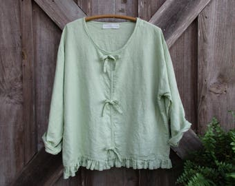 washed linen top blouse in celedon green  with contemporary bows ready to ship