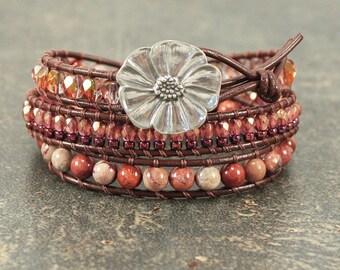 Leather Wrap Bracelet Gemstone Bracelet Copper Coral Pink Rust Burgundy Flower Bracelet One of a Kind Triple Wrap Bracelet Flower Jewelry