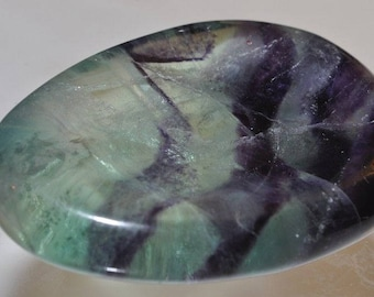 35x51x11mm ***Energetic~Natural Translucent RAINBOW FLUORITE Worry Pocket Thumb Palm Stone/Healing Crystal/Reki Vibrations - F1043