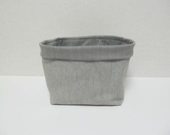 Fabric Storage Bin/Gray x Stripe