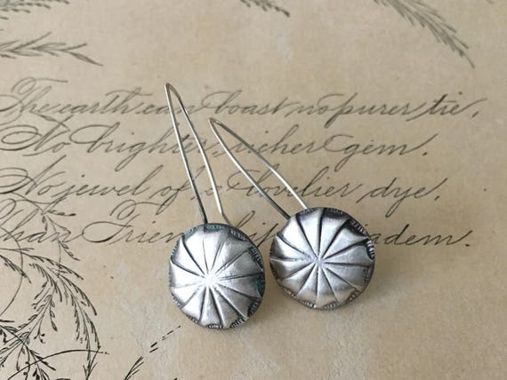 Pinwheel Earrings | Silver Drop Earrings | Vintage Button Earrings