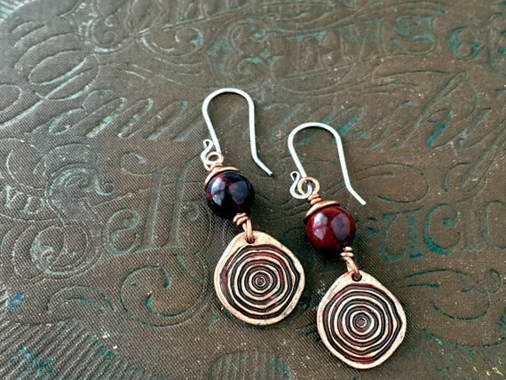 Copper Dangle Earrings | Poppy Jasper | Spiral Earrings