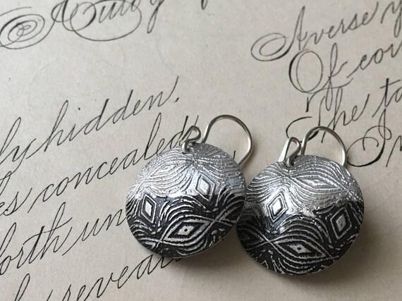 Half Moon Earrings   Patina Jewelry   Textured Silver Earrings