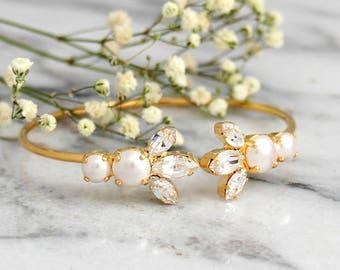 Bridal Wedding Bracelet, Bridal Pearl Bracelet, Swarovski Crystal, Pearl Bracelet, Bridal Crystal Cuff, Bridesmaids Jewelry, Bridal Bracelet