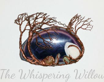 Copper Wire Tree Of Life Metal Wall Art Hanging Sculpture On A Purple Agate Geode Stone Crystal With Gemstones, A Seashell And Quartz