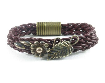 Antique Gold Filled Pin on a Burgundy Leather Braided Bracelet
