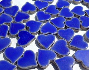 Dark Blue Heart Mosaic Tiles - 25 Large Ceramic 5/8 inch Tiles