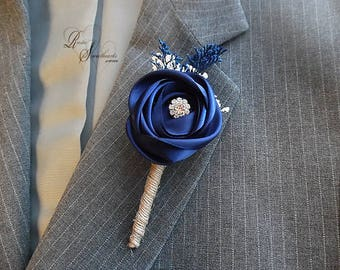 Will ship in 5 days ~ Navy Blue Satin and Sola Flower Groomsman Boutonniere