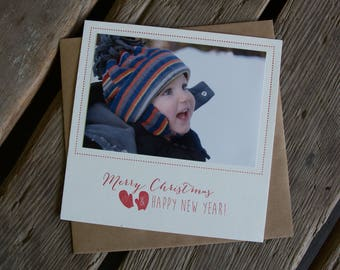 Letterpress Holiday Photo Card with mittens, letterpress printed, add your own photo eco friendly