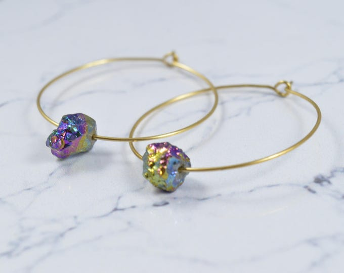 Titanium Crystal Cluster Hoop Earrings