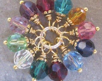 RESERVED Swarovski Birthstone Charms,  Swarovski Crystal Charms,  Stitch Markers, Bead Dangles, Gold Wire Wrapped  CHOOSE THREE