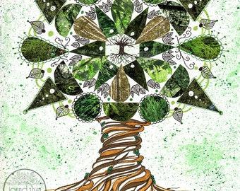 tree of life art - original mixed media collage - original artwork - tree illustration - original mandala art