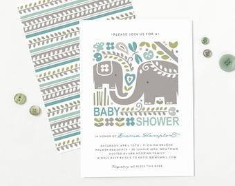 Elephant Baby Shower Invitation, Jungle-themed Shower Invite, Boy or Girl // JUNGLE JOY
