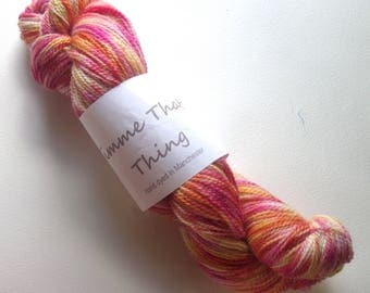 Hand Dyed Sock Yarn Blue Faced Leicester Superwash Wool and Nylon - Tutti Frutti Ice Cream