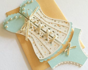 Lingerie Shower / Bridal shower - Corset invitation with panties, mint and gold, set of 14
