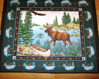 """MOOSE FABRiC PANEL for QUiLT or Wall Hanging 34.5 x 45"""" Outdoorsman Hunter Nature Lover"""