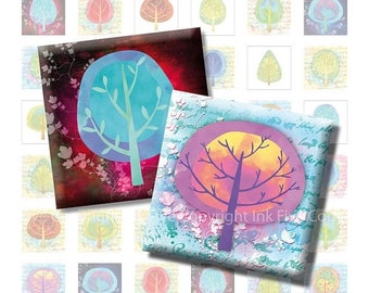 Colorful Trees Digital Collage Sheet. Tree 1x1 inch squares for scrapbook, magnets. Printable 1 inch square images digital download. Nature