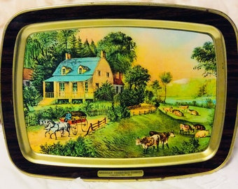 Vintage Currier and Ives Tray Metal Tin American Homestead Summer Farmhouse Lap Serving Cow