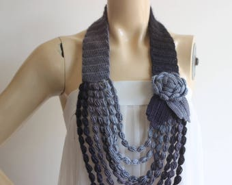 Shades of Grey Necklace- Flower Necklace Scarf-  Jewelry Scarf-Handmade Loop Scarf -Black Gray Scarf