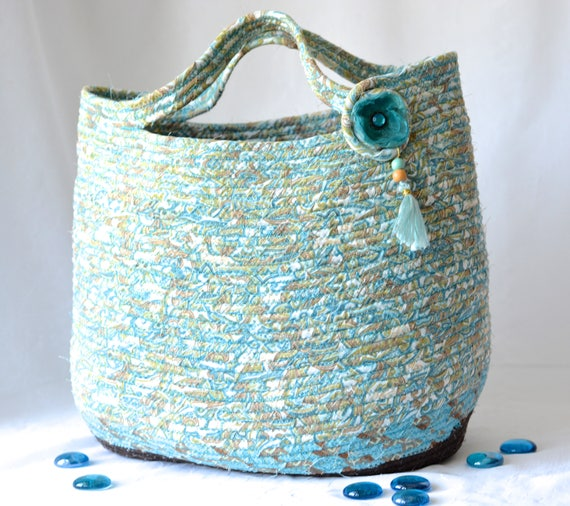Beach Bag, Tote Bag, Handmade Coiled Fabric Basket, Blue Moses Basket, Lovely Storage Organizer, Toy Bin, Picnic Basket, Gift Basket