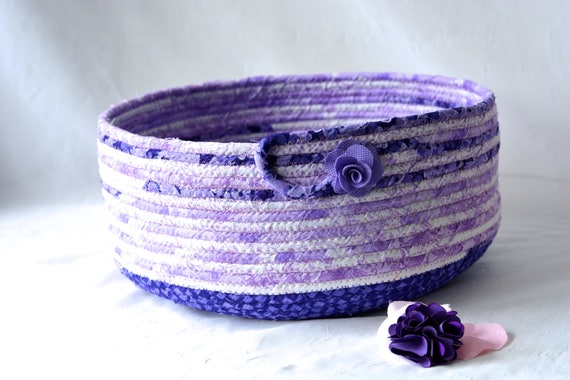 Handmade Cat Bed, Hand Coiled Pet Bed, Violet Fabric Basket, Modern Cat Bed, Dog Bed, Purple and Lavender Fabric Bowl
