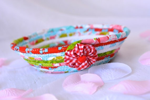 Mother's Day Decoration, Handmade Ring Holder, Decorative Red and Aqua Basket, Lovely Turquoise Key Tray, Cute Candy Dish Bowl