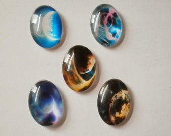 7 - Set of 5 stars 25 * 18 mm glass dome cabochons