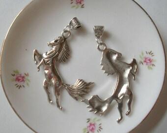 2 pendant style charms Tibetan horse