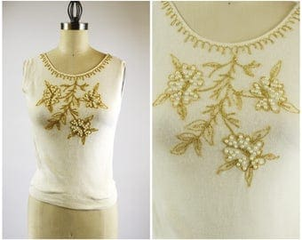 Vintage Beaded Sweater Creamy White and Gold Embroidered Wool Sleeveless Shell Large White Pearl Beads Size Small
