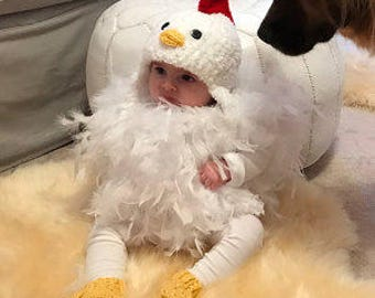 Baby Chicken Costume - READY to SHIP -Chicken Hat - Baby Chicken Hat, Booties and Feathered Romper - Soft Chicken Costume - by JoJosBootique