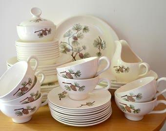 Mid Century Marcrest Pinecone Dinnerware Set