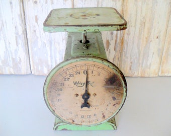 Vintage Scale, Kitchen Scale, Antique Family Scale, Green Scale, Family Scale, Way Rite Scale, Counter Scale