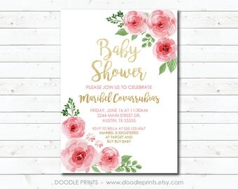 Baby Shower Invitation, Pink and Gold Glitter Baby Shower Printable Invitation, Watercolor Flowers Baby Girl Shower Invite, Party Invitation