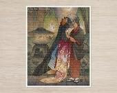 Okina & Shiro / Kitsune Girl, Yokai, Fox / Japanese Style Art / 8x10 Fine Art Print