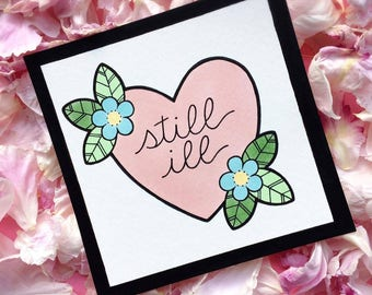 Still Ill Morrissey The Smiths Tattoo Flash Heart MINI PRINT by Michelle Kent
