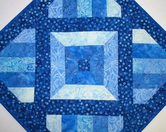 Sale Christmas in July Batik Table Topper, Blues, Wall Hanging, quilted, Center Piece, Candle Mat