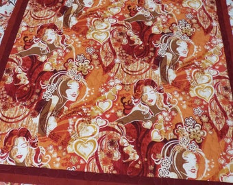 Girl Lap quilt with orange and brown handmade 57 x 70