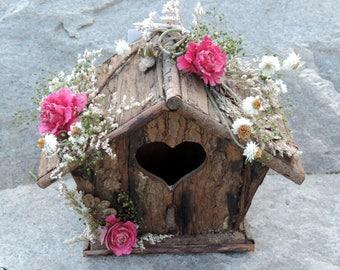 Dried Flower Floral Arrangement Birdhouse of Bark with Heart Opening Cedar Roses Dyed Pink Ammobium Caspia Bird House