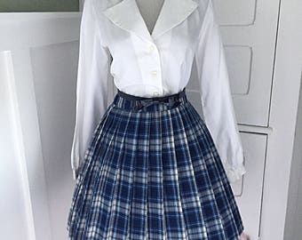 VINTAGE 1960s High Waisted Blue Plaid Full Pleated Skirt