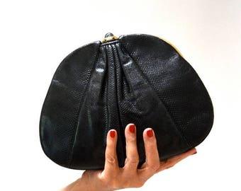 SALE Vintage black Clutch Judith Lieber Evening Bag Black Snake Skin Clutch// Vintage Judith Lieber Black Leather Clutch with Gold Comb Mirr