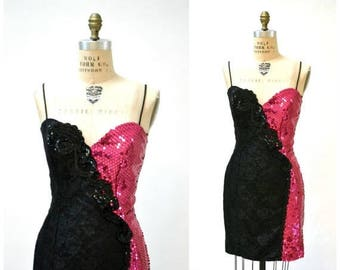 SALE 80s Vintage Prom Dress In Black and Pink Sequins Size Medium Large// 80s Metallic Sequin Party Lace Dress Medium Large Pageant Dress Lo