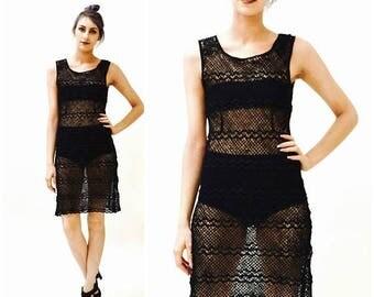 SALE Vintage Black Crochet Dress By Allberta Ferretti Made in Italy Sheer Boho Dress // Vintage Crochet Cotton Wool Dress Black Small