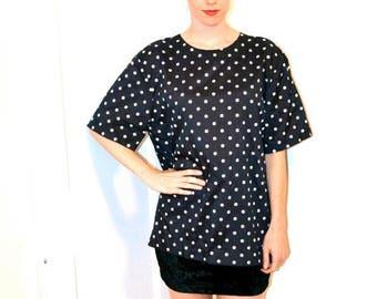 50% OFF SALE 80s Vintage Polka dot shirt Top Black and White Polka Dot Shirt Blouse Size Medium Large