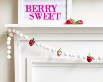 20% off Sale! - Strawberry Themed Felt Ball Garland, Bunting, Banner - White, Pink, and Red - READY TO SHIP!