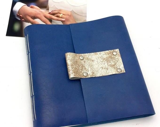 Handbound Scrapbook Album - 8x8 Leather and Steel Gray Canvas - In Stock